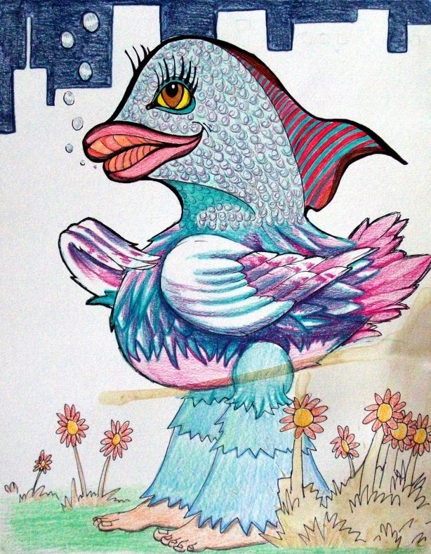 The tripping rainbow-bird contemplated the hippie walk